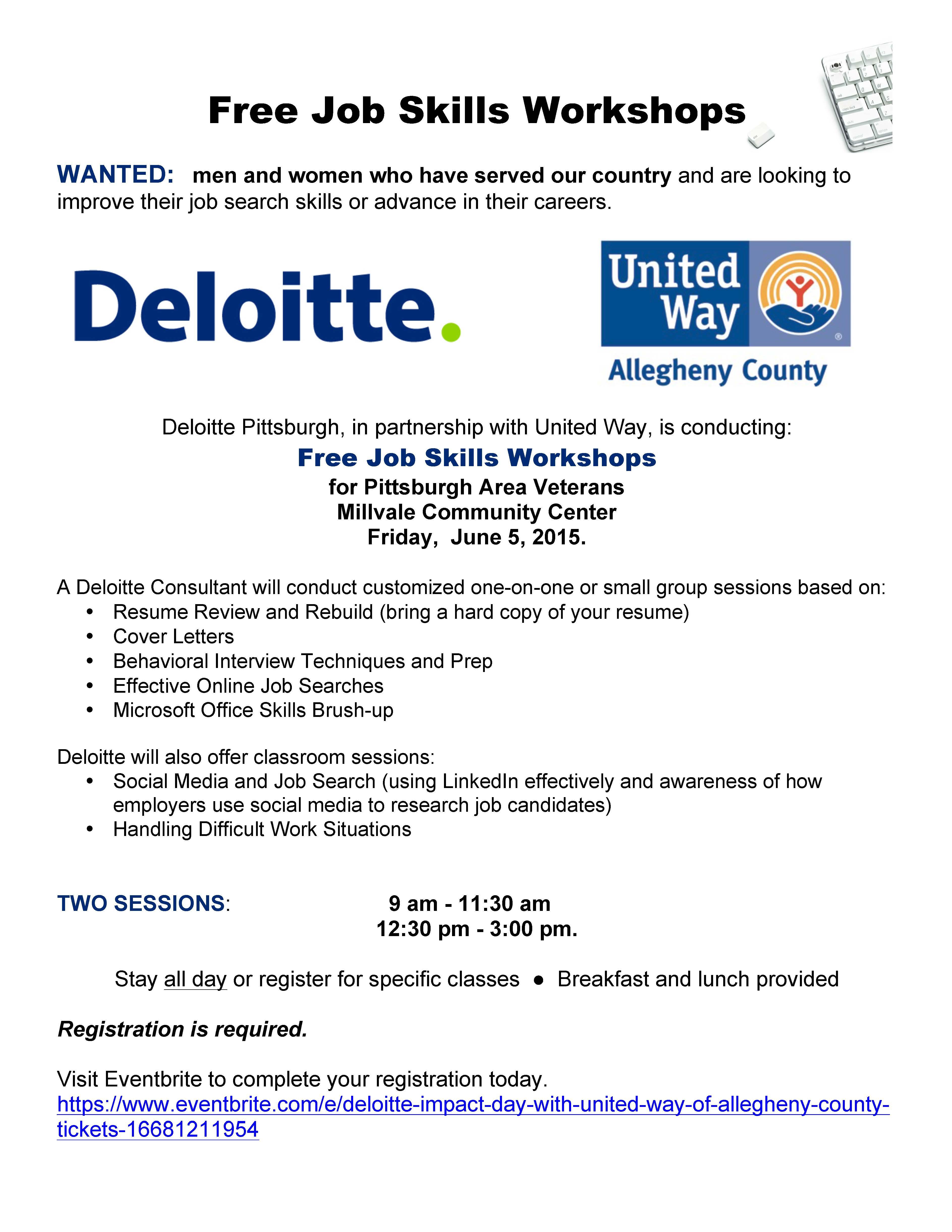 Free Job Skills Workshops for Pittsburgh Area Veterans -
